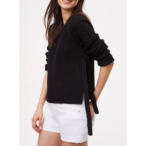 NWT Ann Taylor LOFT Black Side Tie Sweater